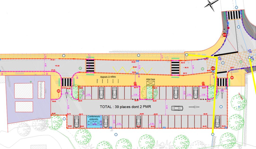 Plan de l'aménagement rue de la Mozelle et Place du lavoir