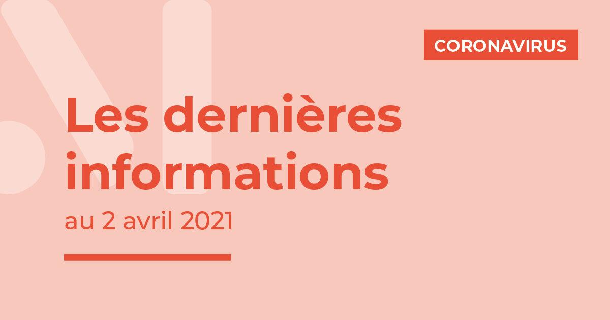 Covid-19 : dernières informations au 2 avril 2021